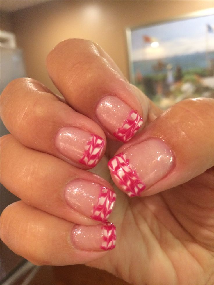My summery sparkle French chevron'd manicure - handmade by Wendy!
