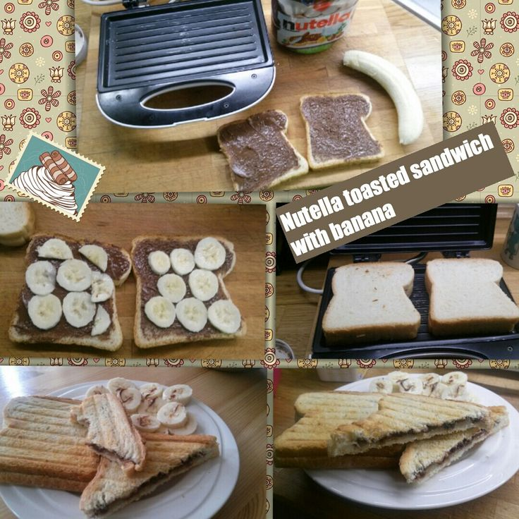 Nutella toasted sandwich with banana. Perfect breakfast ❤