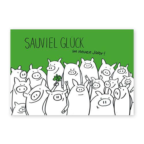 Sauviel Glück im neuen Jahr! Neujahrskarten mit vierblättrigem Kleeblatt und vielen Schweinen