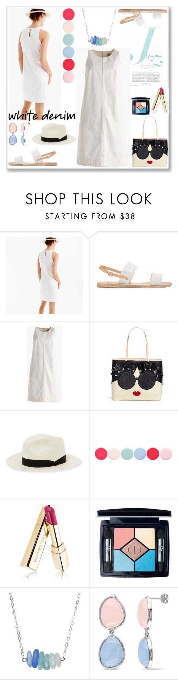 """Enter contest Save Draft Open New       WomenMenHomeMy ItemsCollectionsContestMagazine Ar...× Bright White: Summer Denim"" by nefertiti1373 ❤ liked on Polyvore featuring J.Crew, Ancient Greek Sandals, Alice + Olivia, rag & bone, Nails Inc., Christian Dior and Miadora"