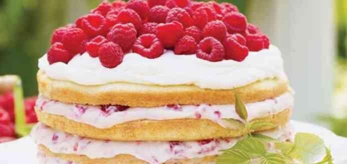 Gâteau aux framboises et à la crème