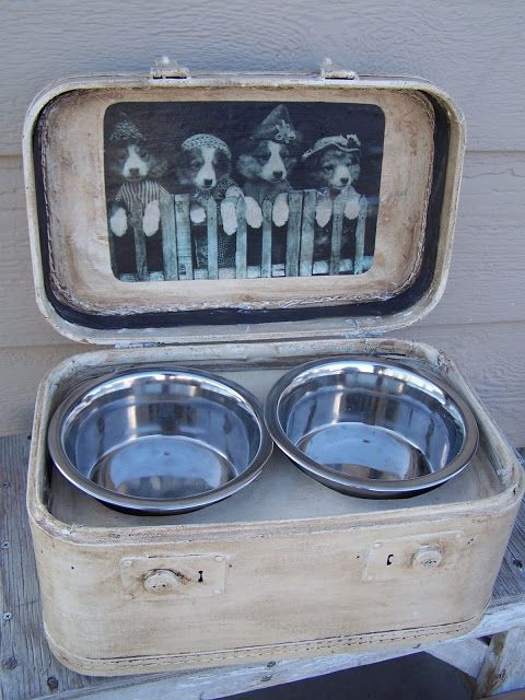dog feeding station from vintage suitcase