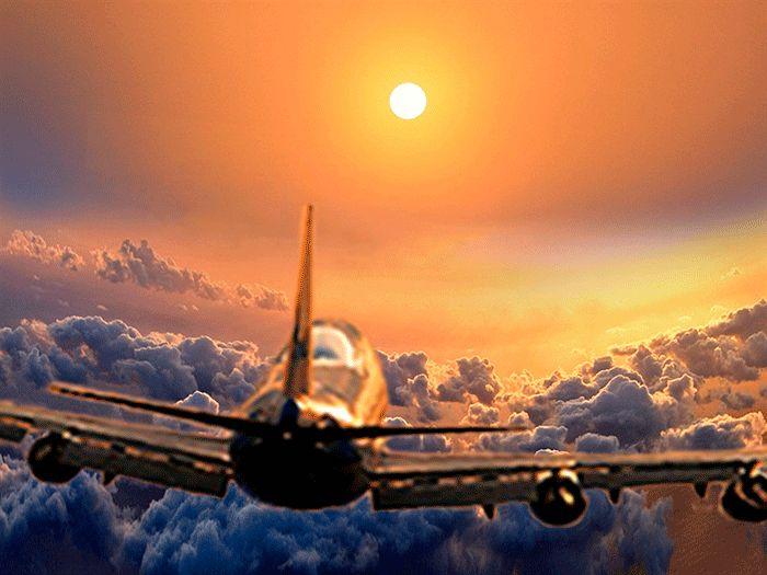 Открытки доброго, картинка самолет летит с анимацией