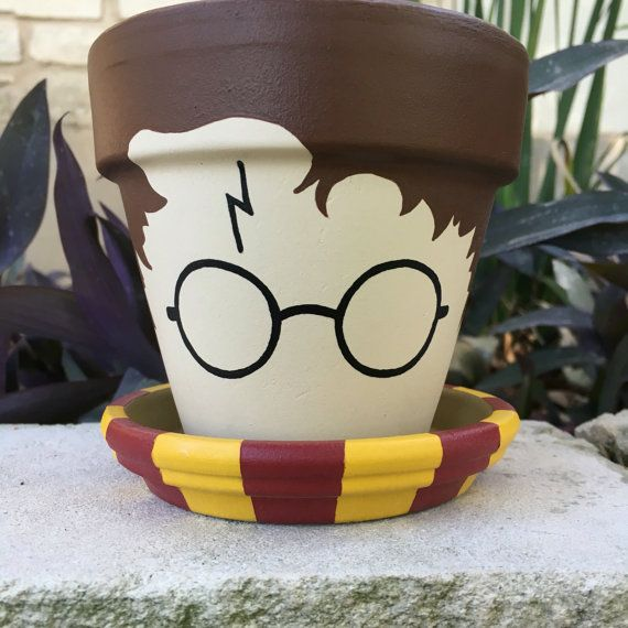 Harry Potter Flower Pot by FlourishAndPots on Etsy