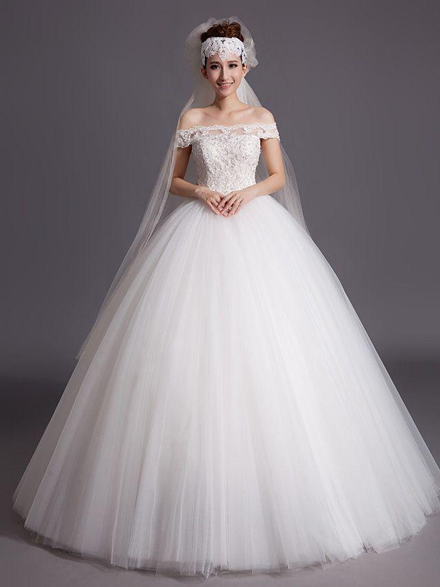 ボールガウン ウェディングドレス アイボリー チュール オフショルダー フロア 丈 - JPY ¥10,445