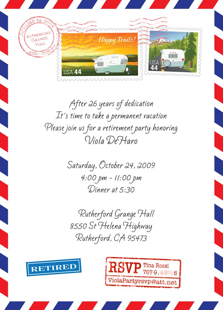 25 unique retirement invitations ideas on pinterest retirement invitation post office retirement party they wanted me to incorporate trailers and happy stopboris Gallery