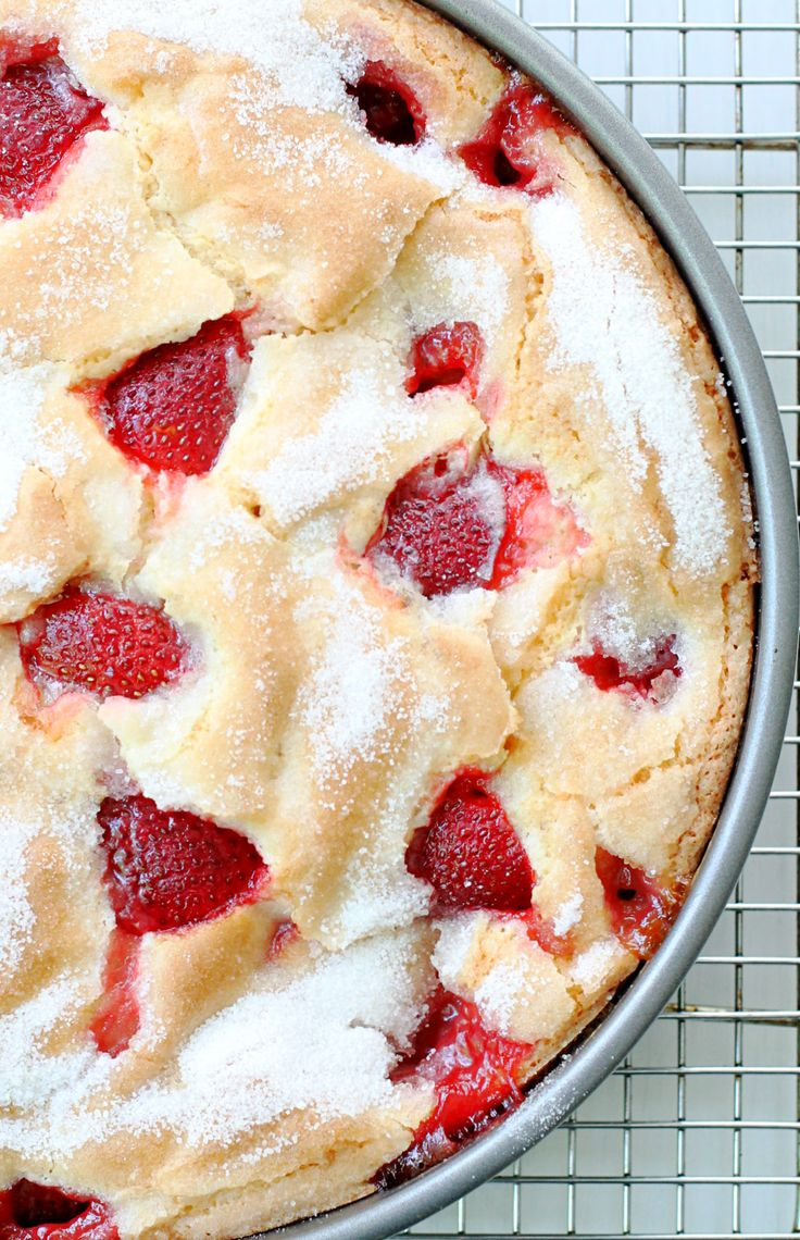 This French Strawberry Cake will be your new favorite summertime treat. Reminiscent of a classic French Apple Cake it has a crumb that is sweetand custardy with a top that bakes up light and crumbly. This cake is the perfect way to show off those fresh picked strawberries! I have Southern Cast Iron magazine to...