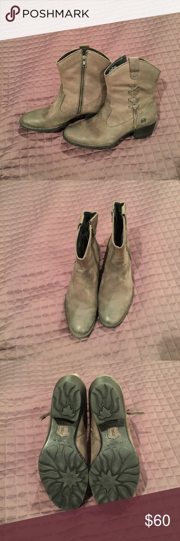 Women's grey boots above ankle, size 10 by Born Women's grey boots, above the ankle by Born, size 10.  Leather upper with 2 inch heel and very comfortable. Gently worn and they look great with boot cut, skinny jeans and dresses/skirts! Born Shoes Heeled Boots