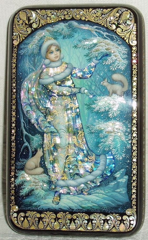"Russian Lacquer box Kholui "" Snow Maiden and Squirrels "" miniature Hand Painted"