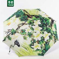 Классический Китайский стиль зеленый виноград живописи тушью pattern солнце дождь Зонтик дождь женщины 3 Складной Анти-УФ мода АРТИКУЛ 04A1C10