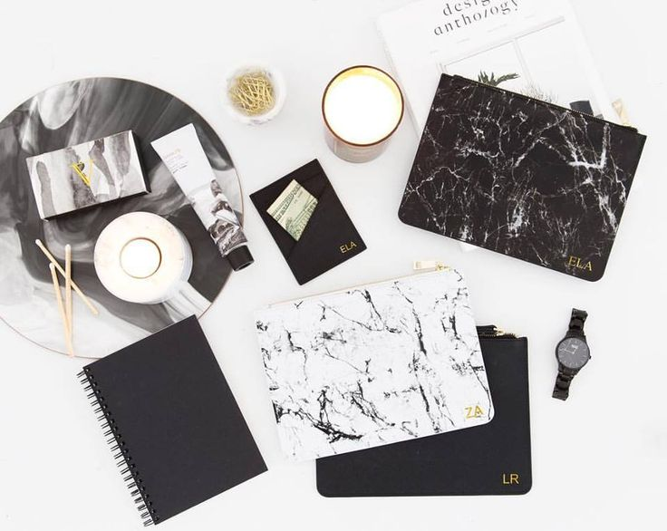 Marble Leather Pouches ♠️💭 in black & white   the perfect personalized accessory. Shop online www.elavonza.com