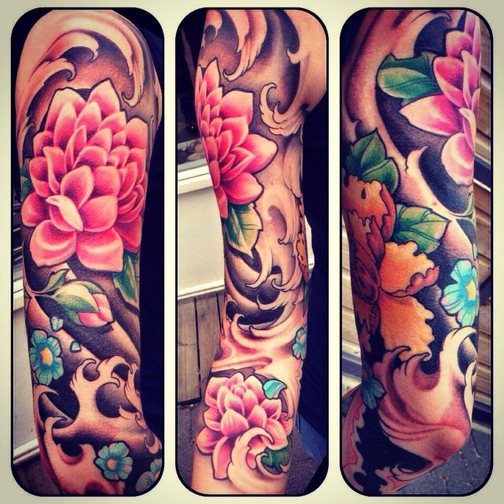 Tattoo sleeve, beautiful flowers and colours