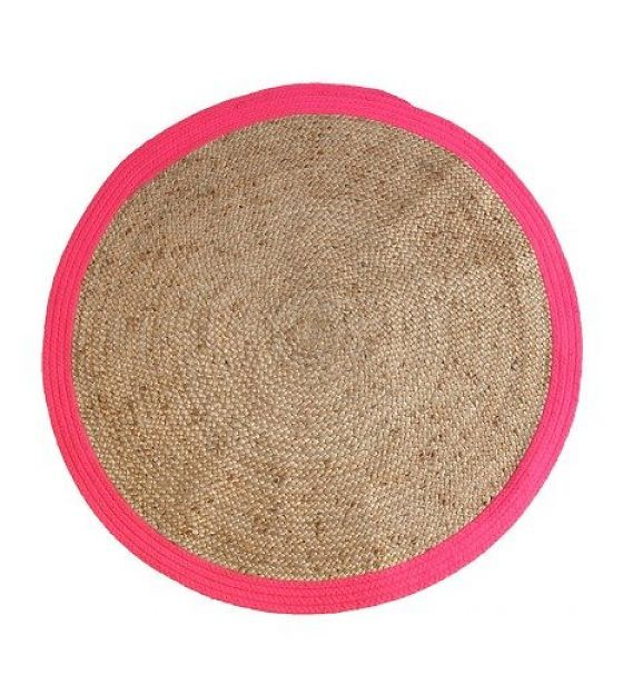 HK-living Teppich rund mit rosa Rand, Ø120cm - lefliving.de > 69,95 EUR