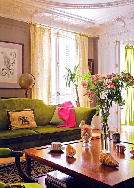 chartreuse color room designs/images | chartreuse-green-decorating-interior-design-ideas-living-room-decor7