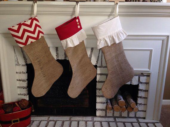 Grande tela calza di Natale calze di Natale di thelittlegreenbean