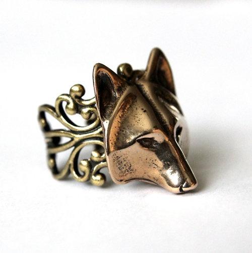 Golden Wolf Mask Ring Adjustable Filigree In Bronze