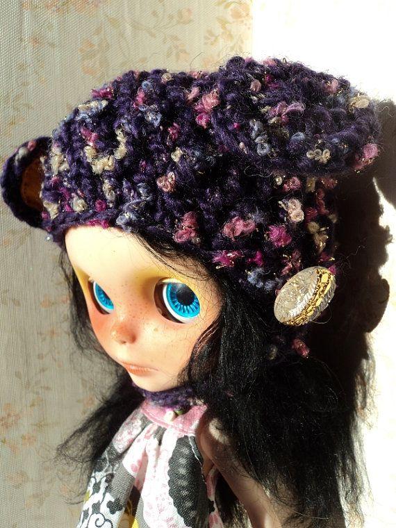 Purple Sparkly Bear Helmet hat for Blythe by Keur on Etsy, $23.00