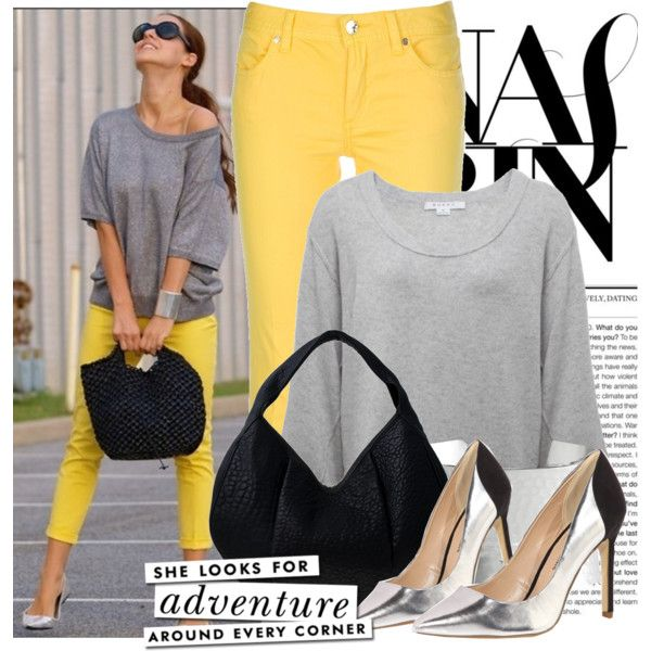 Yellow jeans, silver pumps