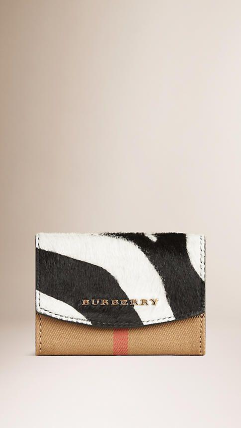 Natural Porta-cartões de pele de novilho com padrão House check e estampa de zebra - Imagem 1