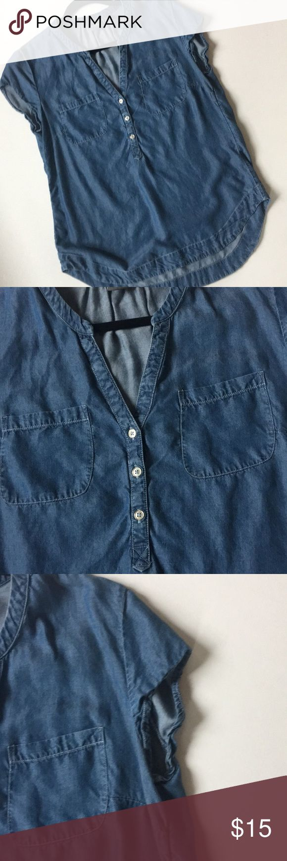 """Chambray Cap Sleeve Top - Soho Jeans So gorgeous and soft! Measures 26"""" in length in front and about 30"""" in length in back. Measures about 19.5"""" across chest. Soho Tops Blouses"""