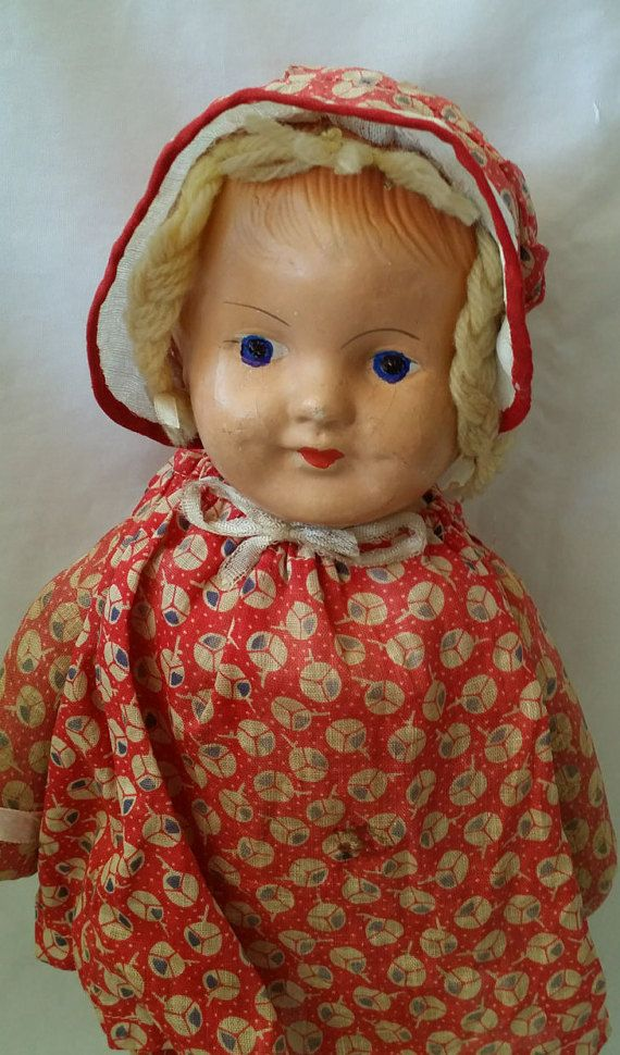 Antique 1930s Composition Head Doll 18 by FugitiveKatCreations