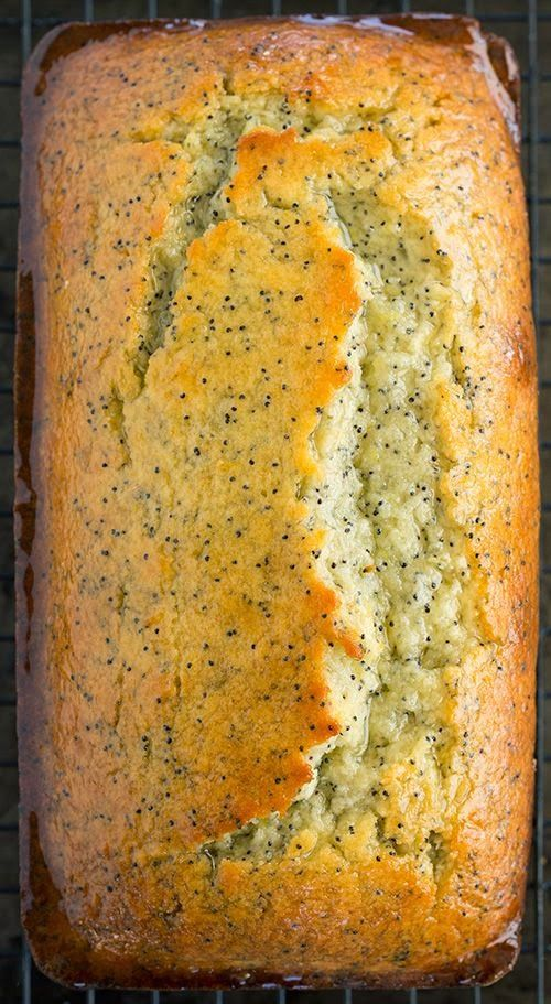 Lemon Poppy Seed Bread -It has a generous amount of zest layered throughout the batter, lemon juice mixed into the batter and a generous coating of a fresh lemon juice glaze brushed along the top :) 350°F