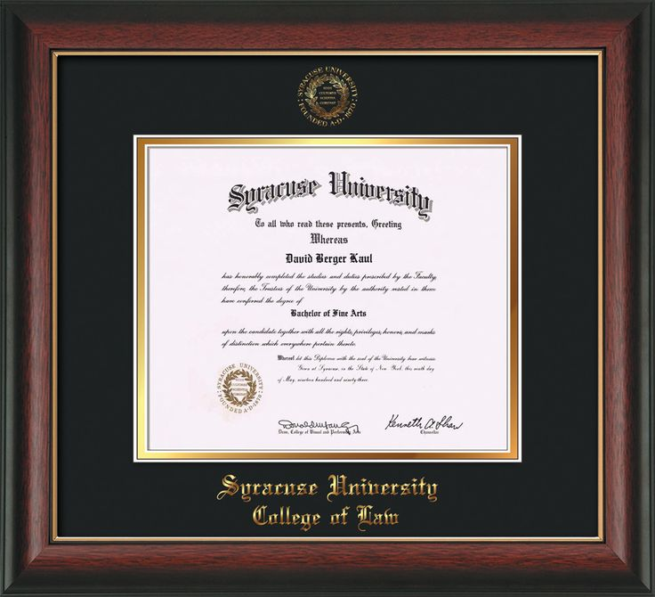 Syracuse University Diploma Frame-Rose Gold Lip-w/SU Law-Black on Gold – Professional Framing Company