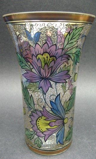 Vintage Haida Muhlhaus Art Deco Nouveau Enameled Gold Gilt Glass Vase