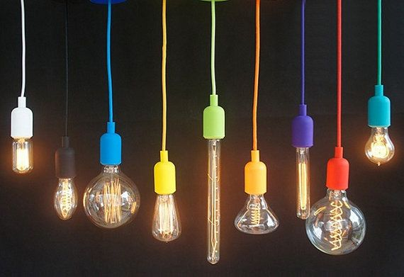 Color Cord Pendant Hanging Lamp Fixture - Blue Green Yellow Purple Orange - Silicone Cloth DIY Cord Kit