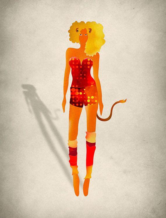 Leo Zodiac Art Print Fashion Illustration July August by evesand