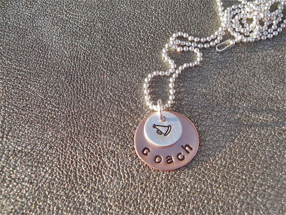Cheerleading Personalized Hand Stamped Necklace with Megaphone Charm - Coach Gift - Cheer Mom Gift - Cheer Gift