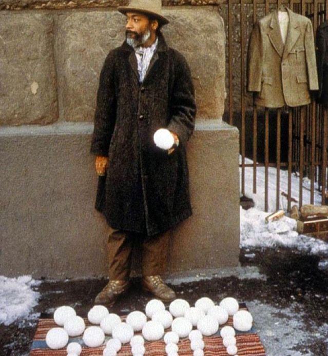 David Hammons - 1983 performance of Blizzaed-aard Ball Sale.