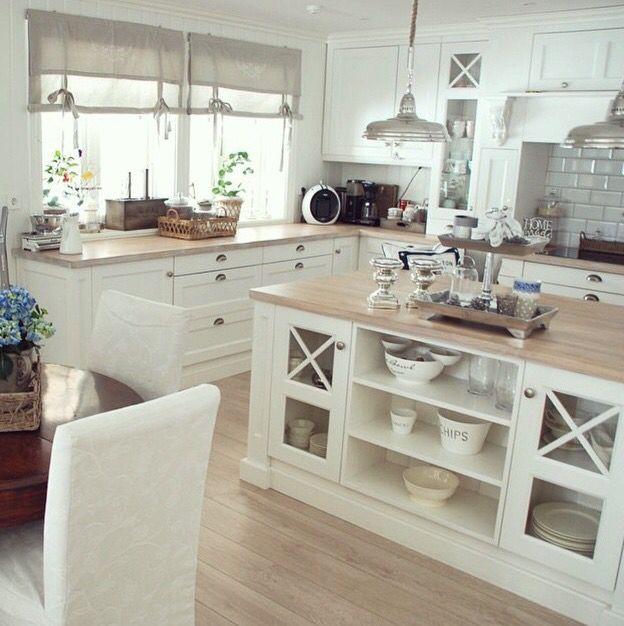 white kitchen (love the island)