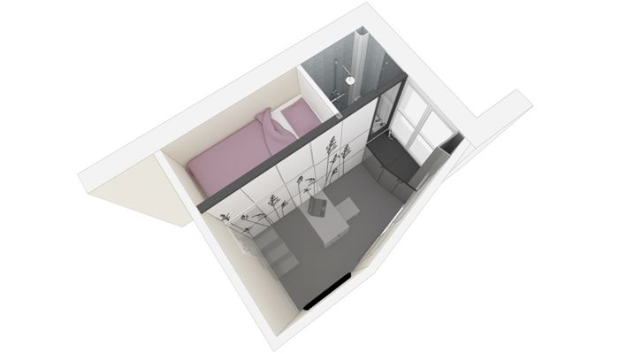 Pretty & functional apartment. Just 86 square feet!