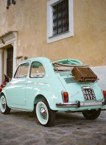 Fiat 500 Turquoise - this is the PERFECT color! Also love the cabrio top and basket on the back!