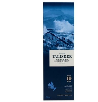 Talisker 10-year-old Isle Of Skye Single Malt Made on the shores of the Isle of Skye, you can almost sense the seawater saltiness in this whisky. It tastes of rich dried fruits and peat smoke, with strong barley malt flavours followed by a pepper http://www.MightGet.com/january-2017-13/talisker-10-year-old-isle-of-skye-single-malt.asp