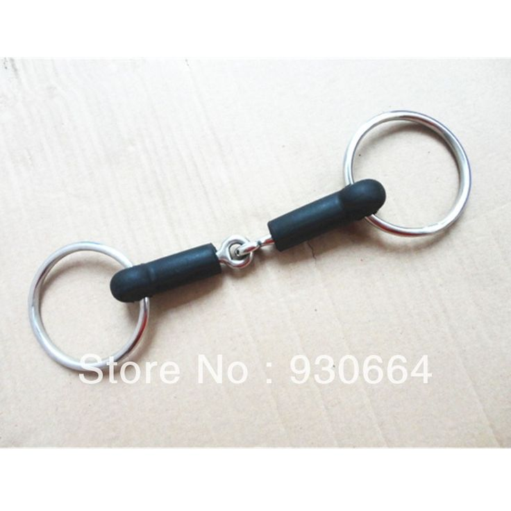 24Pieces/Lot Stainless Steel Ring  Snaffle Bit Wrapped Black Rubber Mouth , Horse Bits ( H0817 )
