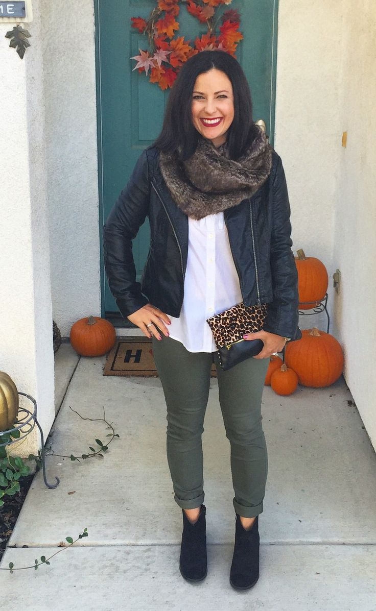 Moto jacket, fur scarf, olive green pants, booties, leopard clutch. ootd, outfit inspiration