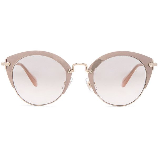 Miu Miu Round Cat Eye Sunglasses (515 CAD) ❤ liked on Polyvore featuring accessories, eyewear, sunglasses, sunglass, cat eye sunglasses, metal-frame sunglasses, miu miu glasses, round metal frame sunglasses and cat-eye glasses