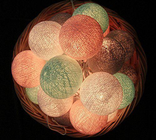 20 Baumwolle Kugel Lichterkette Stoff Ball Zuhause Schlafzimmer Dekor Wohnkultur Festlich Hochzeiten Geburtstag Party Dekoration (Grau Rosa Mint): Amazon.de: Beleuchtung