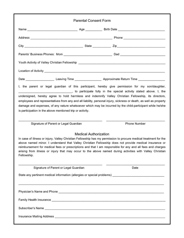 Parental Consent Form For Photos - Swifter.co - parental consent form for medical treatment