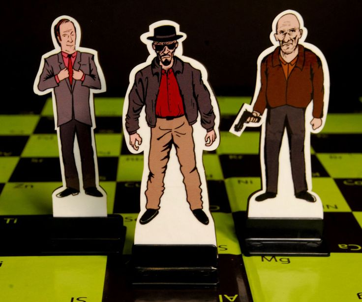 Breaking Bad Chess Set -- Watch as Walt attack his vampire by facing off against his alter ego – Heisenberg – with the Breaking Bad chess set. This habit built chess set tomb Walt, Skylar, and Walt Jr. against Heisenberg and his malevolent henchmen all hell bent on destroying each other.