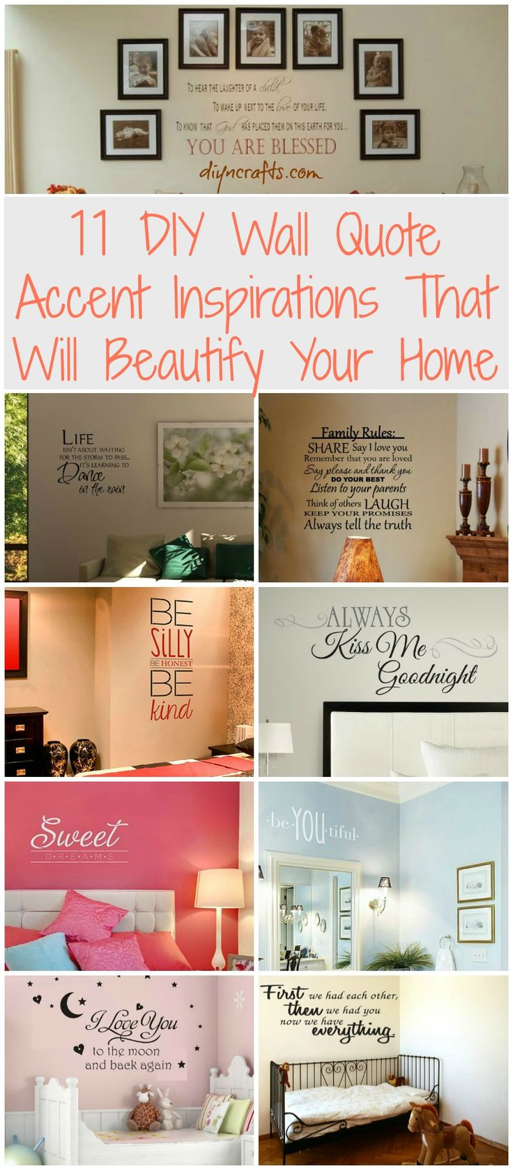 11 DIY Wall Quote Accent Inspirations That Will Beautify Your Home - DIY &...
