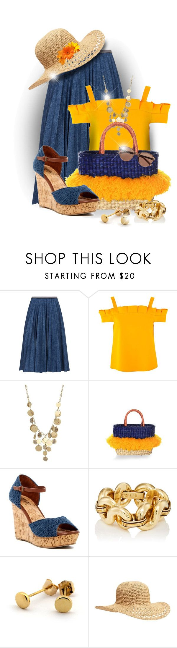 """""""Raffia Tote Bag"""" by elona-makavelli ❤ liked on Polyvore featuring Leur Logette, Topshop, Kenneth Cole, Nannacay, MIA, Old Navy and Witchery"""