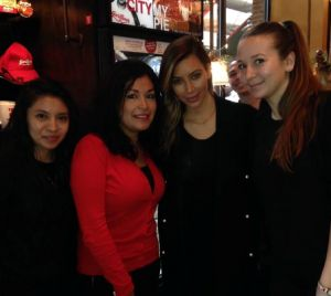 """Kim Kardashian and Kanye West Show """"True Holiday Spirit"""" With Giordano's Pizza Staff in Chicago — See Pics Here!- http://getmybuzzup.com/wp-content/uploads/2013/12/232830-thumb.png- http://getmybuzzup.com/kim-kardashian-kanye-west-show-true-holiday-spirit-giordanos-pizza-staff-chicago-see-pics/- By Shari Weiss   (Facebook)  Kim Kardashian and Kanye West indulged in some traditional Chicago-style deep dish pizza on Thursday, making the day of some very excited Giordano"""