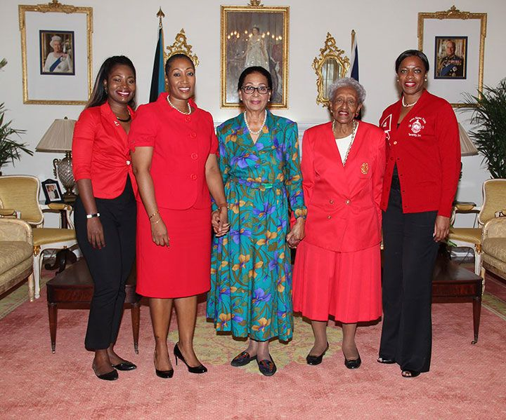 Nassau, New Providence -- Bahamas Alumnae Chapter of Delta Sigma Theta Sorority, Inc. paid a courtesy call on Governor General Her Excellency Dame Marguerite Pindling at Government House on Friday, February 10, 2017.  Pictured from left: Khashan Poitier, Chair of Social Action; Jeunesse Osadebay-Bullard, JP., Bahamas Country Coordinator; H.E. Dame Marguerite Pindling; Beverly Wallace Whitfield, member; and Nicole Pratt, JP., Bahamas Membership Services.  (BIS Photo/Letisha Henderson)