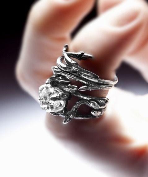 Image of dark silver stacking PAIR: Elvish rings, twigs & natural rock crystal . Gorgeous!