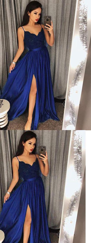Royal Blue Prom Dresses Sexy Split Evening Party cocktail Gown Girls vestido de fiesta de graduación