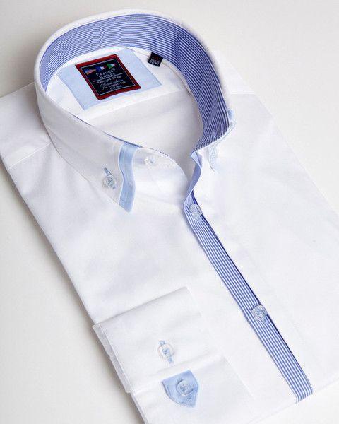 White double collar shirt for men