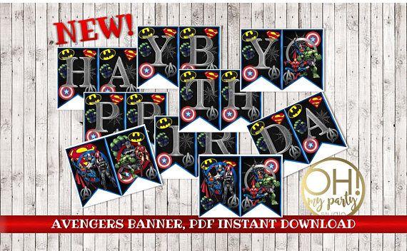 AVENGERS birthday banner,avengers printable,avengers party ...